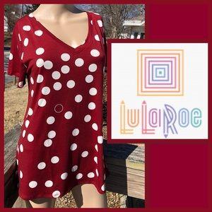 LulaRoe Burgundy Dot V-Neck Tee! NEW!